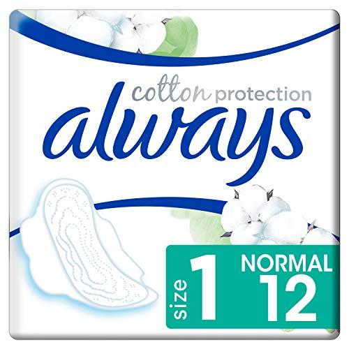 Always Cotton Protection Ultra Normal (Taille1) Serviettes Hygiéniques Avec Ailettes x12