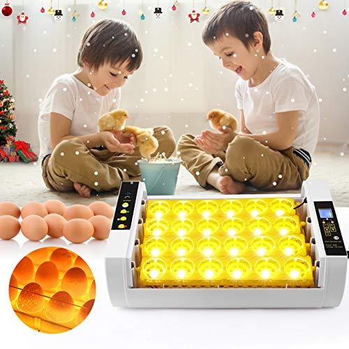 TOPQSC Eier Inkubator Brutmaschine 24 Intelligente Inkubatoren,EIN LED-Display Mit Temperatur- und Feuchtigkeitsregelung und Eine Automatische Rotierende Belüftung,die für Hühner,Enten,Gänse