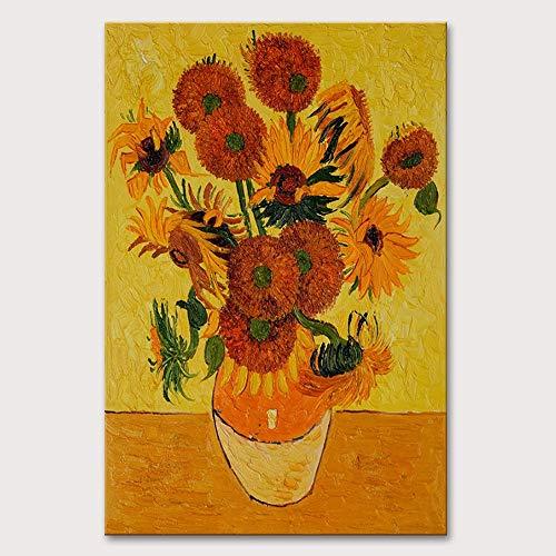 wZUN Pintura al óleo Famosa en Van Gogh, Pintura de Girasol, decoración del hogar, Imagen de Pared de Arte Abstracto 60x90 Sin Marco