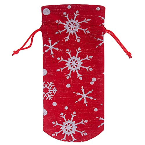 GLJYG Fundas para botellas de vino de Navidad con cordn, diseo de copo de nieve, bolsas de regalo para botellas o decoracin para fiestas en casa
