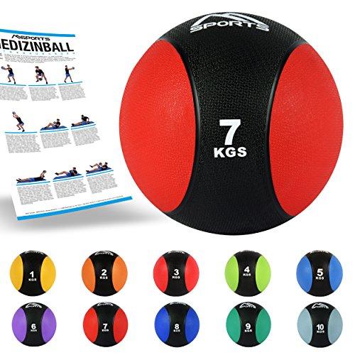MSPORTS Medizinball 1 – 10 kg – Professionelle Studio-Qualität inkl. Übungsposter Gymnastikbälle (7 kg - Rot)