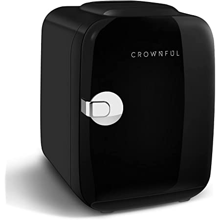 CROWNFUL Mini Fridge, 4 Liter/6 Can Portable Cooler and Warmer Personal Refrigerator for Skin Care, Cosmetics, Beverage, Food,Great for Bedroom, Office, Car, Dorm, ETL Listed (Black)