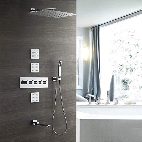 JFFFFWI Top Spray Sistema de Ducha con Descarga Posterior 4 Funciones Juego de Ducha termostático Cuadrado Plateado Empotrado en la Pared Grifo de Ducha de Cobre 35 * 55 cm Dosel sobrealimentado Sim