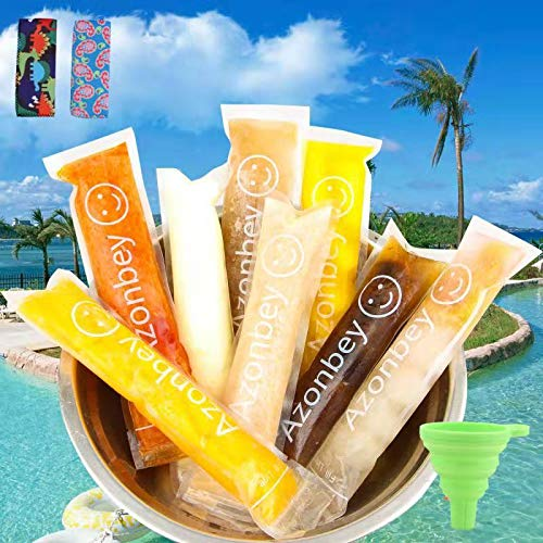 AZONBEY 140Pcs Disposable Ice Popsicle Mold Bags,Homemade Ice Pop Bags with A Funnel and Zip Seals For Ice Candy Pops,Juice & Fruit Smoothies, Yogurt Sticks Popsicle Bags