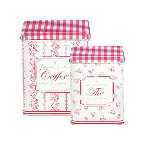 GreenGate Dosen - Tin Box Square Audrey Raspberry - 2er Set