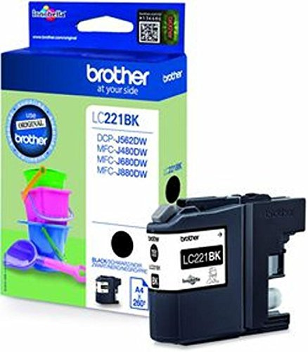 1x Original Brother Tintenpatrone LC221 LC 221 LC-221 für Brother MFC J 480 DW - Black - Leistung: ca. 260 Seiten