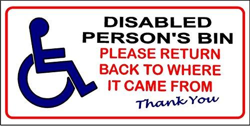100x 50mm Silla de ruedas discapacitados Wheelie Bin por favor Volver a donde llegó