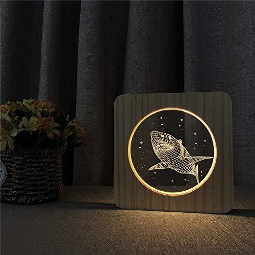 Lámpara de Mesa de luz Nocturna de Madera acrílica de tiburón Grande, Interruptor de Control, lámpara de Grabado Deportivo para decoración de la habitación de los niños, Nave Espacial