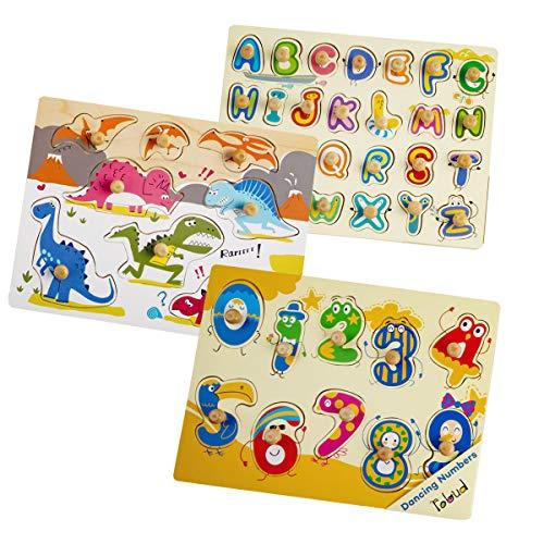Robotime Wooden Peg Puzzles - Juguetes didácticos clásicos para niños de 1, 2, 3 años, contadores, niños y niñas - Regalos educativos y de Aprendizaje para niños (3 Pack)