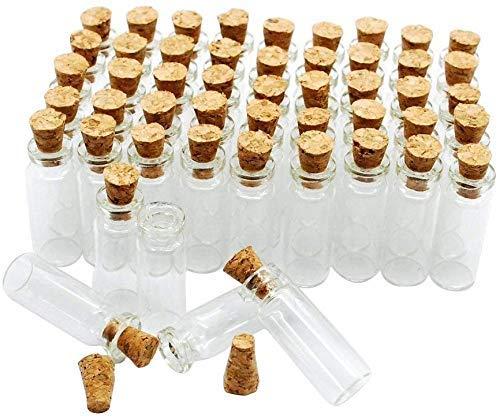 Botellas de vidrio, botellas de deseos, mini botellas de almacenamiento de 5 ml, paquete de 50 tapones de corcho de 5 ml