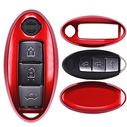 Auto Schlüssel Cover Hülle für Nissan Qashqai Juke Micra Pulsar X-Trail Evalia Navra/Farbe: Metallic Rot