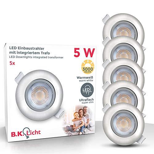LED Einbauleuchten schwenkbar ultra flach inkl. 5x LED-Modul 5W 450lm 3000K warmweiß Einbaustrahler Matt Nickel IP23