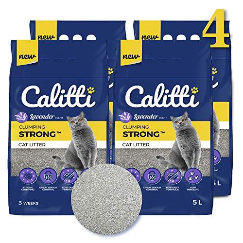 Calitti Katzenstreu Klumpstreu ohne Duft | 100% natürlichem Bentonit mit frischem Lavendelduft | 12 Wochen - Set 20L