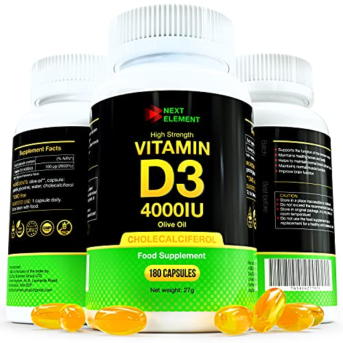 Vitamin D3 4000 IU Cholecalciferol | 180 Softgel Capsules | Food Supplement for Healthy Muscle, Bone and Immune System | Cold-Pressed Organic Olive Oil | Non-GMO and Gluten-Free | by Next Element