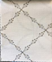 LOGANOVA Relaxed Roman Shade Ryder Silver with geometric grey embroidery pattern on white background. Faux linen roman shade with chain mechanism. Custom made