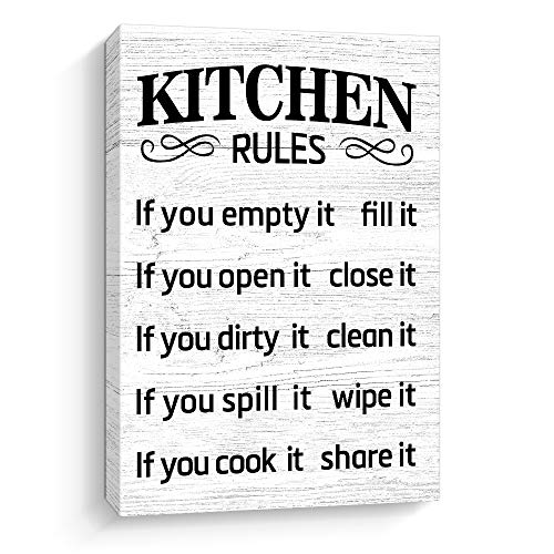 Pigort Kitchen Wall Decor, Kitchen Rules Decorations Wall Art, Rustic Farmhouse Decor (Kitchen Rules, White)