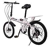 Daorokanduhp 20in 7 Speed City Folding Compact Suspension Bike Bicycle Urban Commuters