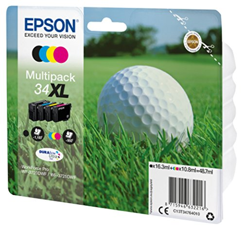 Epson Original 34 Tinte Golfball (WF-3720DWF WF-3725DWF, Amazon Dash Replenishment) Multipack 4-farbig