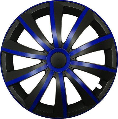 CM DESIGN Gral Azul/Negro–14Pulgadas, Apta para Casi Todas Las Fiat, por Ejemplo para Seat 600