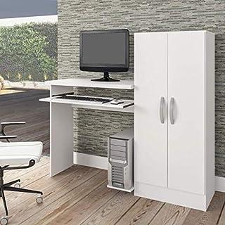 Mesa para Computador com Armário 2 Portas Irlanda Atualle Móveis Branco Fosco