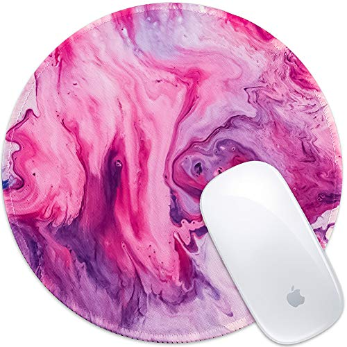 Marphe Mouse Pad Pink Red Marble Mousepad Stitch Edge Non-Slip Rubber Gaming Mouse Pad Round Mouse Pads for Computers Laptop