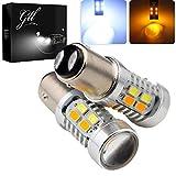 GLL 1157 BAY15D 5730 20 SMD Amber/White Switchback Turn Signal LED Light Bulbs 3.8W 12V LED Super Bright 600 Lumens 6000-6500K Brake Light Lamp (Pack of 2)