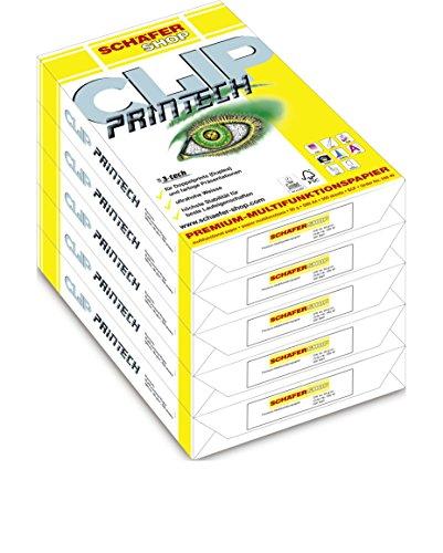 SCHÄFER SHOP Multifunktionspapier A4 – Papier 80g - Druckerpapier Kopierpapier Qualitätspapier - Duplexdruck geeignet - CLIP PRINTECH - weiß, 2500 Blatt