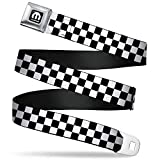 Buckle-Down Seatbelt Belt - Checker Black/White - 1.5' Wide - 24-38 Inches in Length