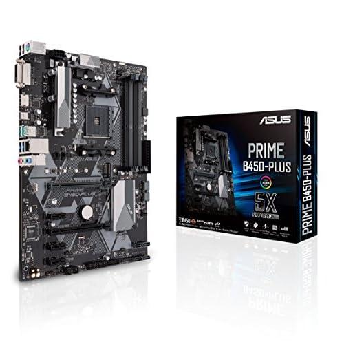 Asus B450-PLUS PRIME Scheda Madre AMD AM4 ATX con Connettore Aura Sync RGB, DDR4 3200M Hz, SATA 6Gb/s e USB 3.1 Gen 2, Nero