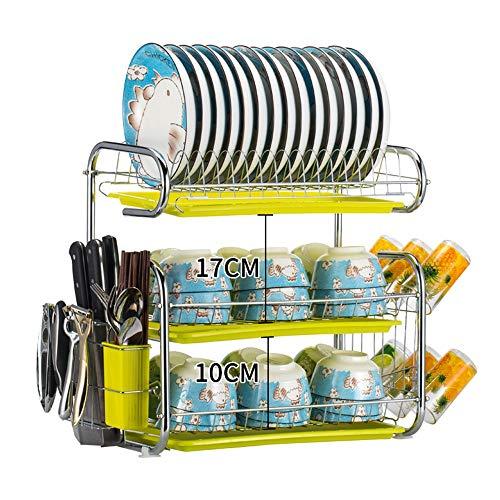 WH-TJQ W&H Rangement de Cuisine Plats Vidange Rack Assiette Rack Baguettes Couteau De Cuisine Rack Trois Couche H44 × W25 × L43cm ++ (Color : B)