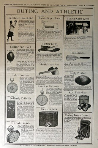 Electric Bicycle Lamp,Rubby Football,scout field glass, folding premo camera,american pedometer,marble's belt axe,tennis racket, 1917 Full Page B&W [ads]Illustrations, 11