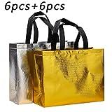 Bolsa de compras reutilizable brillante, bolsa de compras con asa, bolsa de regalo elegante no tejida, bolsa de golosinas, bolsa de compras, bolsa promocional, para fiesta, cumpleaños (12 piezas)