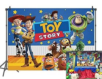 AOYU 7x5ft Cartoon Toy Story Backdrop Starry Sky Woody Buzz Birthday Party Decor Background