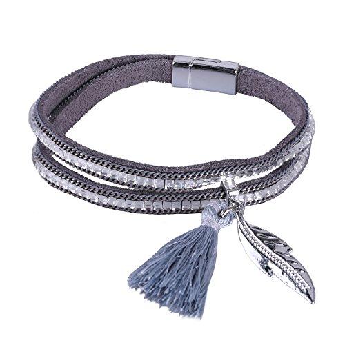 KELITCH Armbänder für Damen 2 Kreis Magnetismus Knopf Grau Leder Armband Ethno mit Blatt Quaste Anhänger
