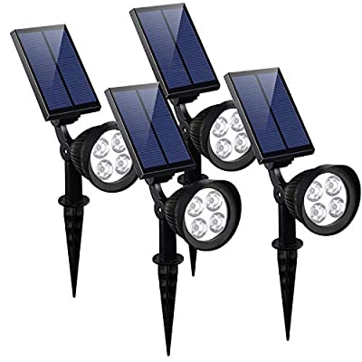 KOMAES Solar Spotlights Outdoor, Waterproof Solar Security Landscape Lights, Adjustable Solar Garden Light with Auto On/Off for Yard Driveway Pathway Pool Patior Garden, Walkways-2 Packs (4 Packs)