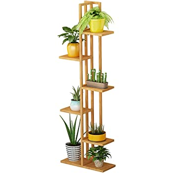 f/ür Wohnzimmer Balkon Garten Indoor Outdoor Blumentreppe 6 Ablagen stehendes Pflanzenregal Gartenregal Medla Blumenregal aus Bambus 40x20x102cm