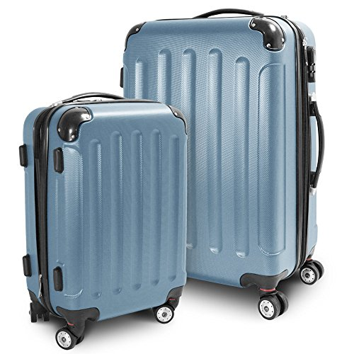 BERWIN® Kofferset M + L 2-teilig Reisekoffer Trolley Hartschalenkoffer ABS Teleskopgriff Modell Stripes (Türkis)