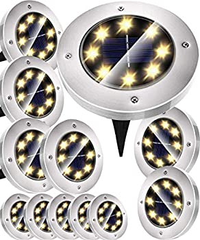 12-Pack LANPAN Waterproof Solar Powered LED Pathway Lights