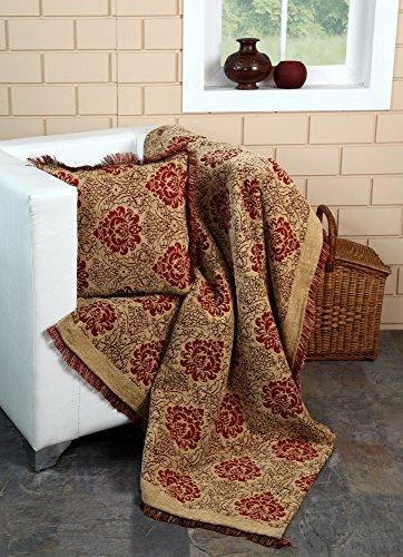 Damask Chenille Jacquard Sofa Armchair Single Bed Blanket Throw, 125 X 150 cm