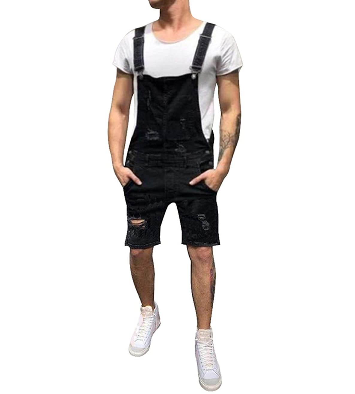 lisenraIn Men's Denim Bib Overalls Fashion Ripped Jeans Slim Jumpsuit with Pockets
