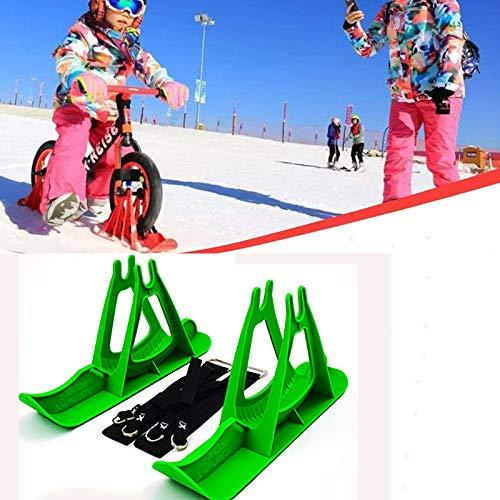 2Pcs Snow Ski Ski Set, 8-14 Pulgadas Bicicleta De Equilibrio para Niños, Skis Kids Snowboard Sled Ski Board Balance Bike Scooter Piezas De Ruedas,Verde