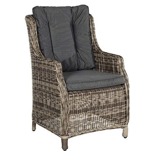 Butlers Granny Sessel 59x60x95,5cm - Armsessel aus Kunstrattan mit Sitzkissen und Rückenkissen, Grau - Gartensessel