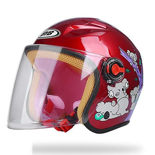 Linbing666 Cascos para niños Monopatín Bicicleta Scooter Casco Resistencia al Impacto Ventilación y Calidez, con Lente HD antivaho, para niños de 3 a 9 años (19,29-21,65 Pulgadas),Rojo