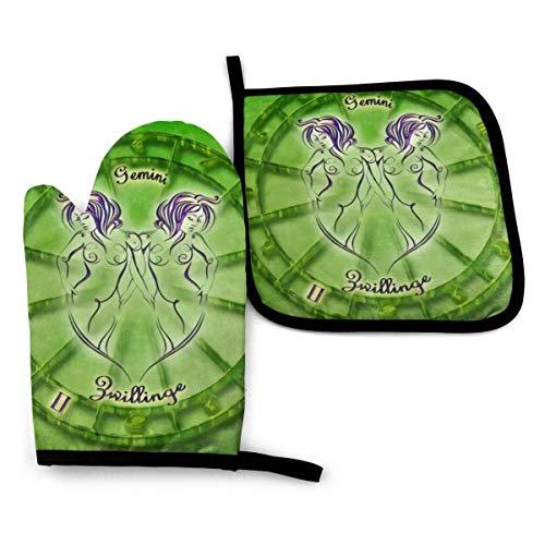 AOOEDM Green Gemini Ofen-Topflappenhalter-Sets, Isolierhandschuhe, rutschfeste...