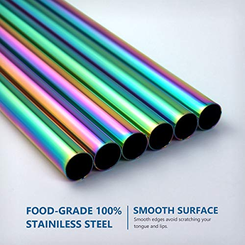 Set of 6 Stainless Steel Multicolor Boba Straws with Cleaning Brush