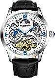 Stührling - Reloj automático original para hombre, esfera de reloj de esqueleto, doble tiempo, AM/PM Sun Moon, correa de piel, 571 para hombre, Blanco y Negro, Reloj de esqueleto, reloj automático