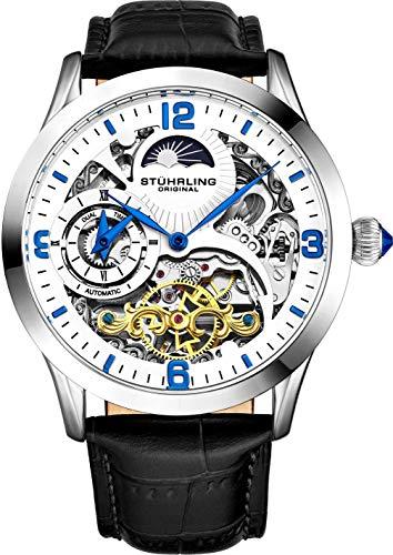 Stührling Original Automatikuhr für Herren Skelett Uhr Zifferblatt, Dual Time, AM/PM Sonne Mond, Lederband 571 Herrenuhren Serie, weiß / schwarz, Skelettuhr, automatische Uhr