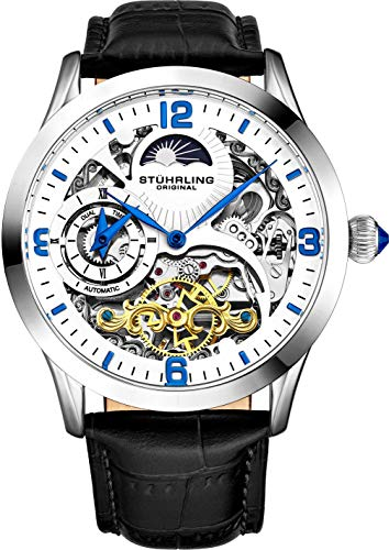 Stührling Orologio automatico originale da uomo con quadrante scheletro, Dual Time, AM/PM Sun Moon, cinturino in pelle, 571 Mens Watch Series Bianco e nero.