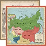 Carta Bella Paper Company Russia Map paper, sepia, grey, green, navy, red, cream