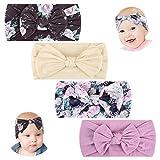 Makone Vendas del bebé (3-8 piezas) súper elásticas Suaves Nudo de bebé Turbante, Multicolor Hairband de los bebés recién Nacidos Banda Para Cabeza
